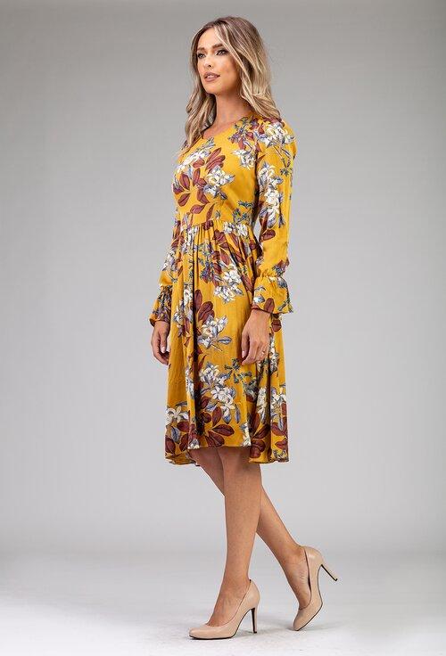 Rochie nuanta galben mustar cu imprimeu floral