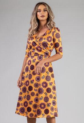 Rochie nuanta mustar cu imprimeu mandala