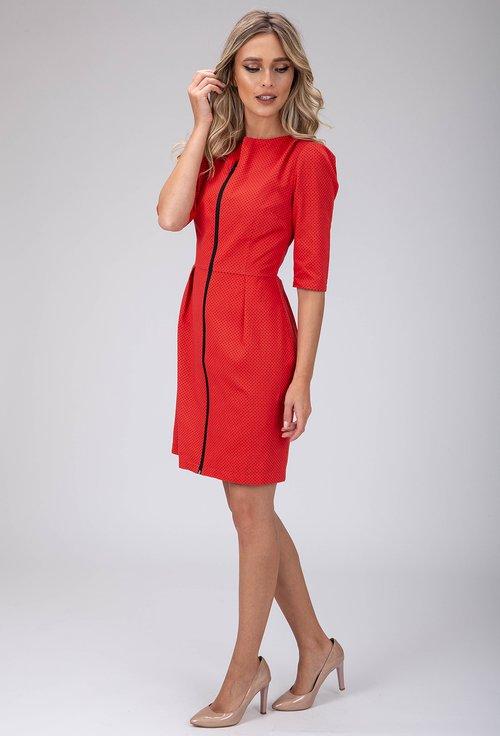 Rochie nuanta rosu corai cu buline mici si fermoar