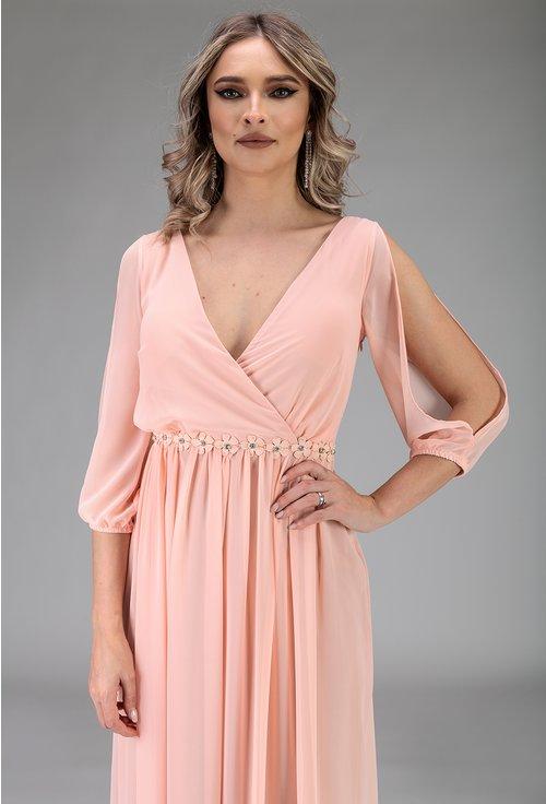 Rochie nuanta roz pal cu maneca decupata