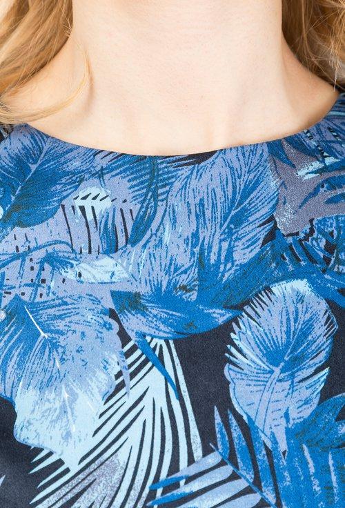 Rochie office albastru marin cu imprimeu floral Nadia