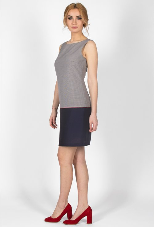 Rochie office gri si navy Lydia