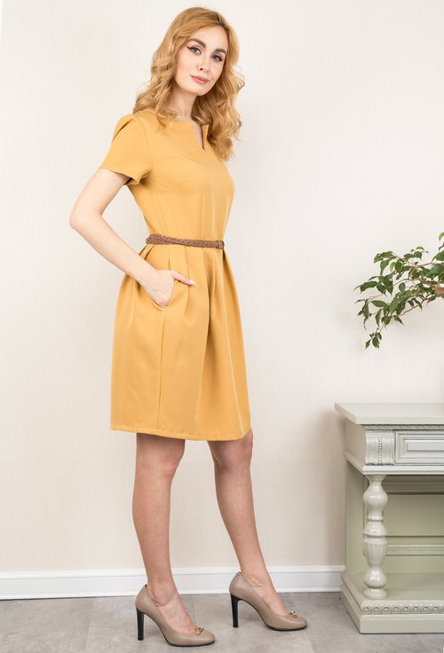 Rochie office nuanta galben mustar Krisa
