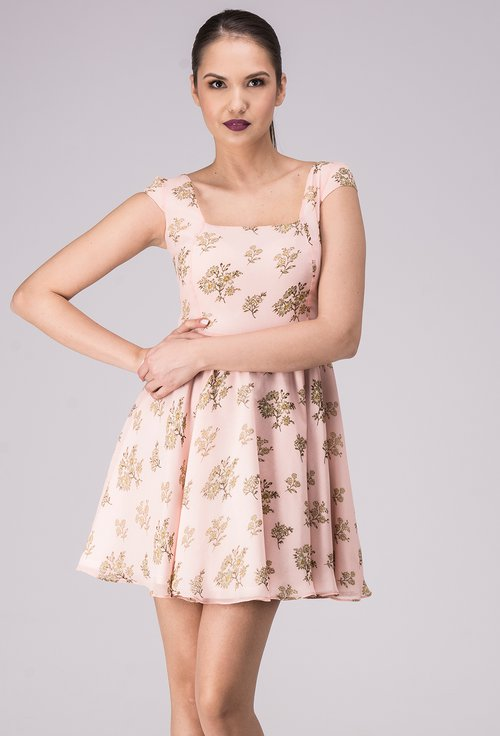 Rochie roz pal cu imprimeu floral multicolor Marisol