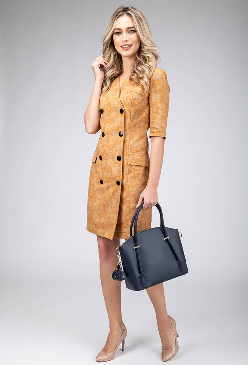 Rochie office tip sacou din bumbac nuanta camel