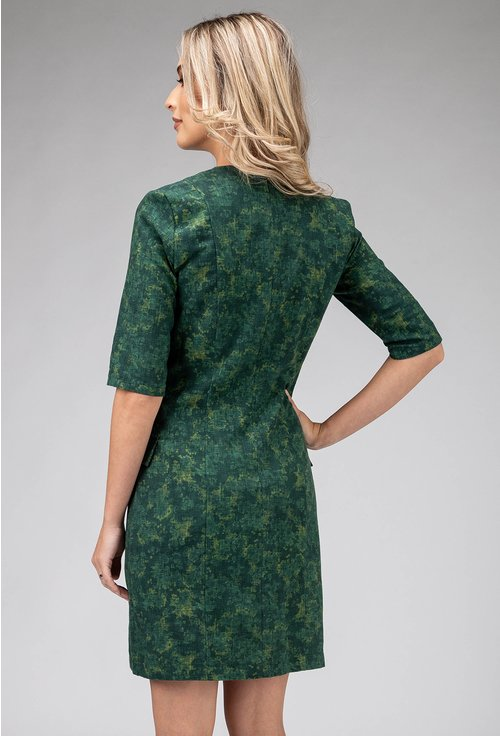 Rochie office verde tip sacou din bumbac