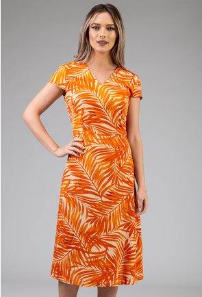 Rochie portocalie cu imprimeu vegetal
