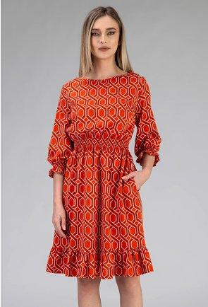 Rochie portocalie cu volane si buzunare