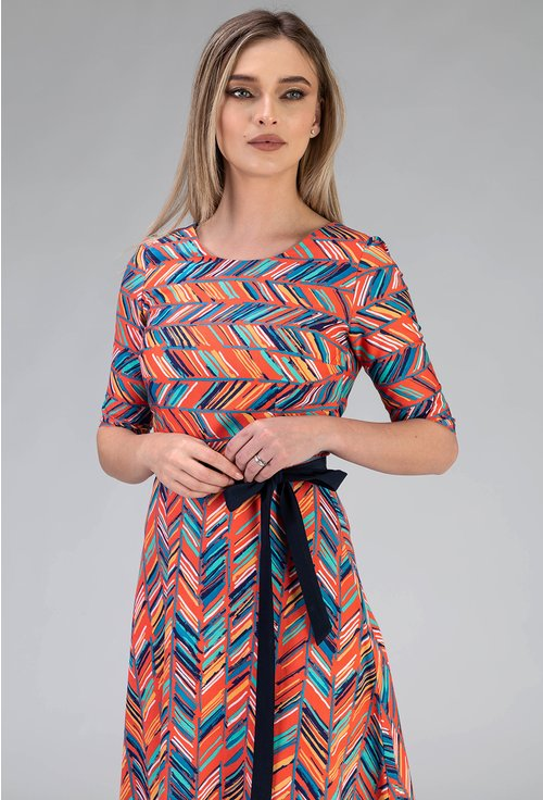 Rochie potocalie din bumbac cu imprimeu abstract si cordon