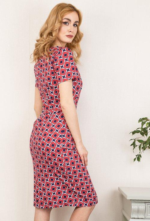 Rochie rosie cu imprimeu abstract Kelly