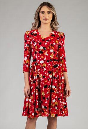 Rochie rosie cu imprimeu abstract si pliuri laterale