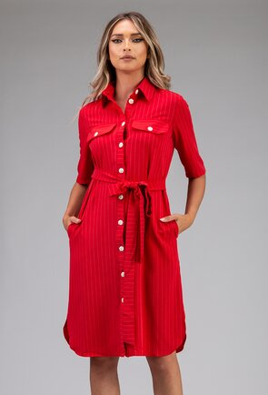 Rochie rosie tip camasa cu buzunare