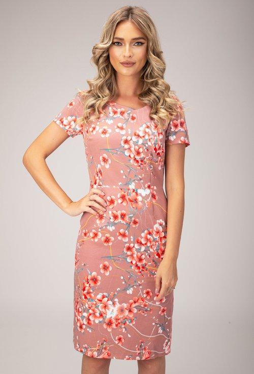 Rochie roz-mov cu imprimeu floral Lara