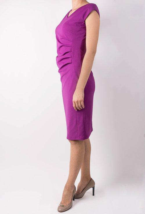Rochie roz-orhidee cu model drapat Felicity