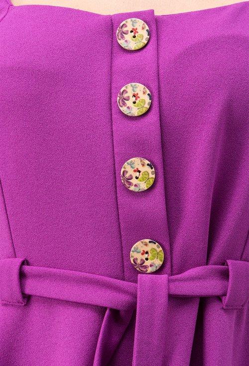 Rochie roz-orhidee cu nasturi si cordon Missy