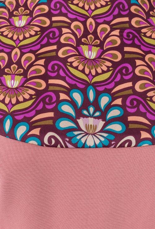 Rochie roz trandafiriu cu imprimeu multicolor Angela