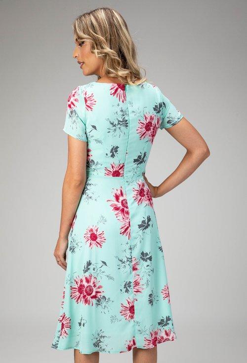 Rochie turcoaz deschis cu imprimeu floral colorat Amy