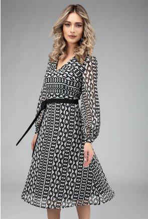 Rochie vaporoasa alb cu negru cu imprimeu lanturi