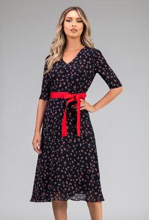 Rochie vaporoasa cu imprimeu floral si cordon