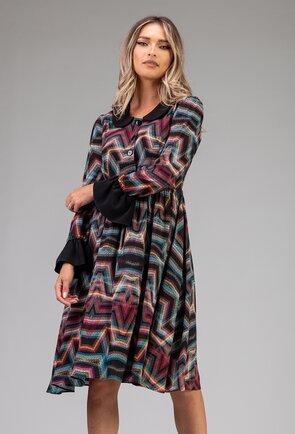 Rochie vaporoasa multicolora cu volan la maneci