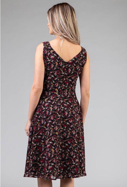 Rochie vaporoasa neagra cu imprimeu floral