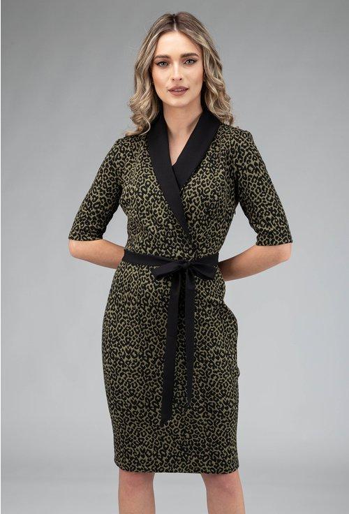 Rochie verde cu animal print cu rever