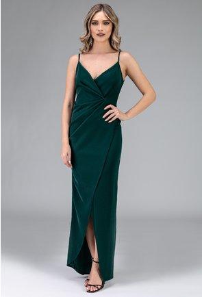Rochie verde cu bretele si crapatura