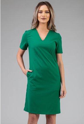 Rochie verde cu buzunare