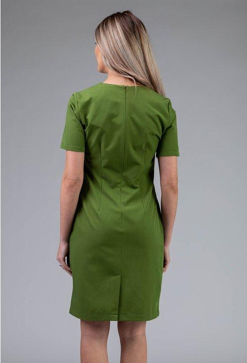 Rochie verde cu buzunare si decolteu in V