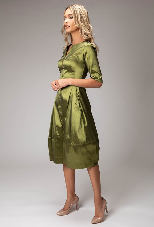 Rochie verde cu buzunare si fermoar in partea din fata