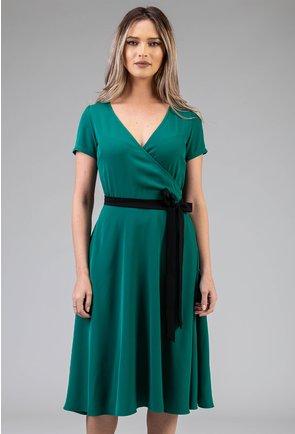 Rochie verde cu cordon negru