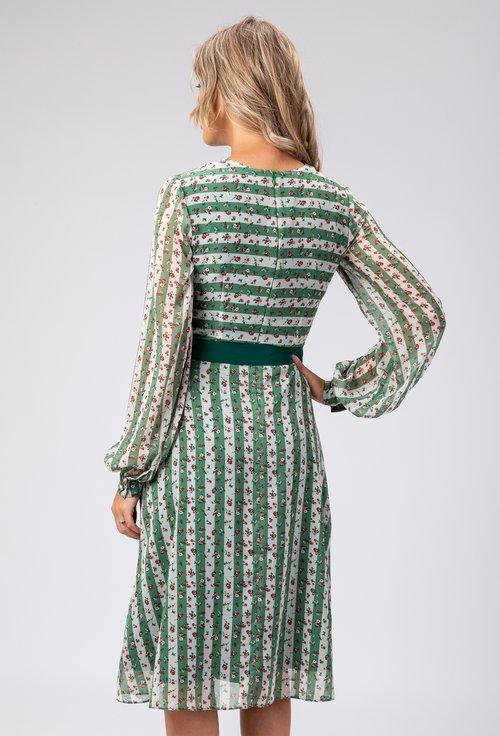 Rochie verde cu dungi si imprimeu floral Garden