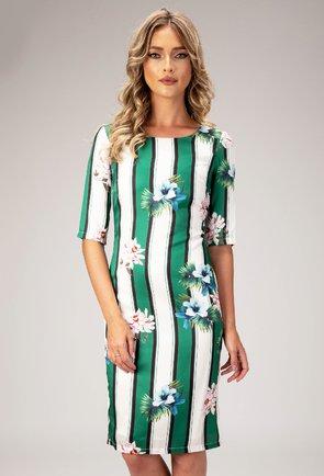 Rochie verde cu dungi si imprimeu floral Niabi