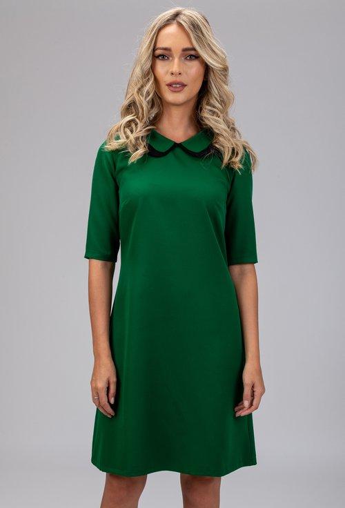 Rochie verde cu guler dublu