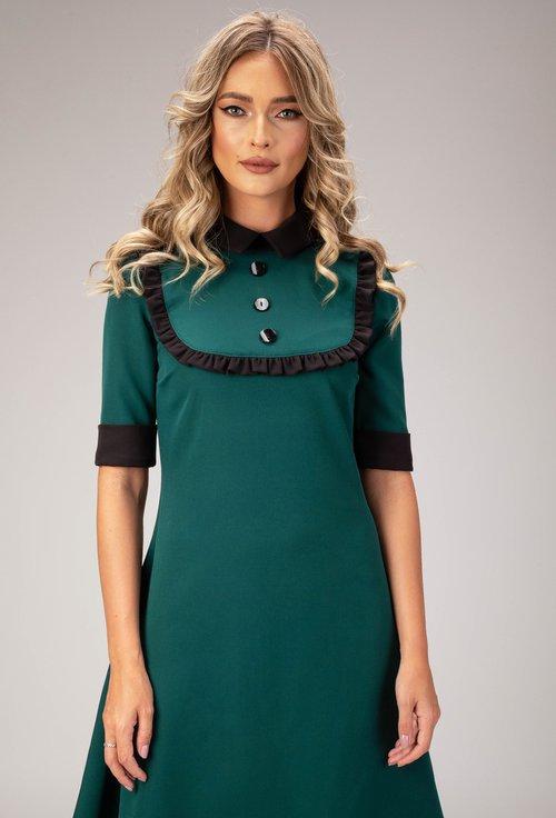 Rochie verde cu guler si detalii negre Noris