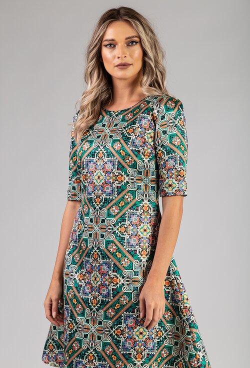 Rochie verde cu imprimeu abstract colorat