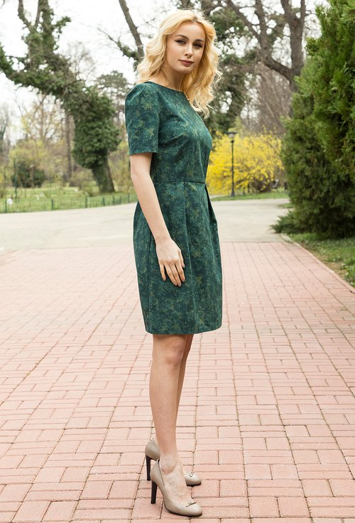 Rochie verde cu imprimeu abstract Polly