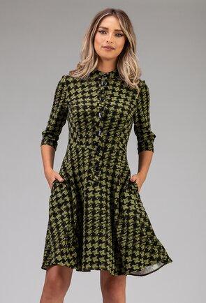 Rochie verde cu imprimeu abstract si buzunare
