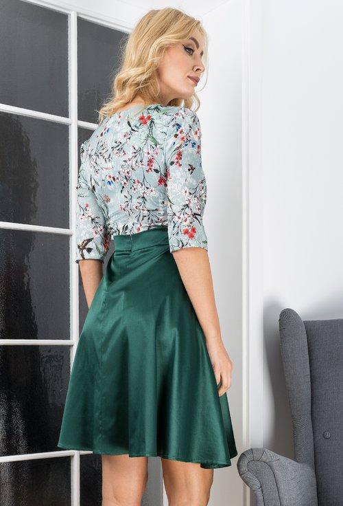 Rochie verde cu imprimeu floral colorat Gloria