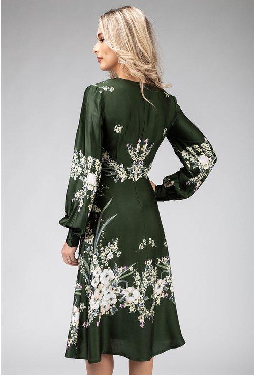 Rochie verde cu imprimeu floral cu maneca lunga