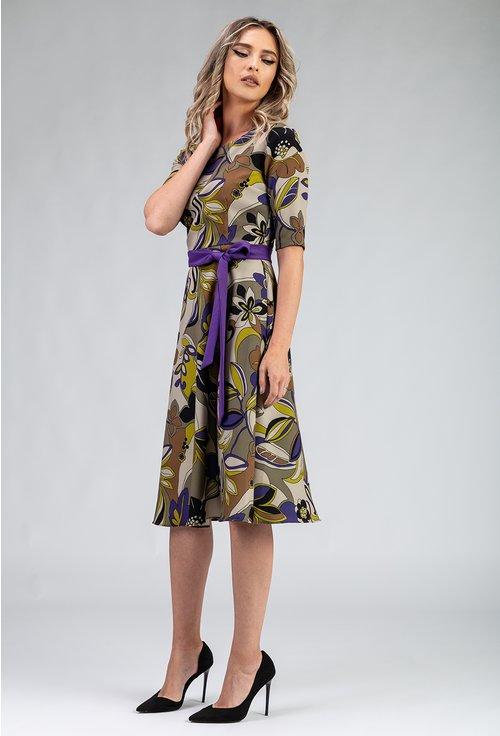 Rochie verde cu imprimeu floral si cordon mov