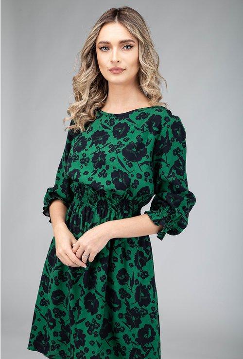 Rochie verde cu imprimeu floral si volan