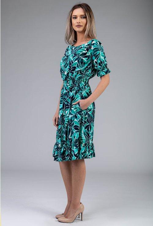 Rochie verde cu imprimeu vegetal si volane