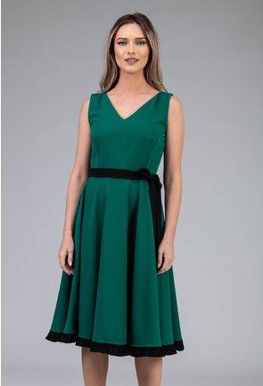 Rochie verde cu volan si cordon