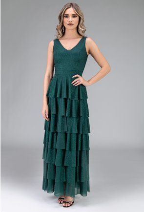 Rochie verde cu volane si insertii sclipitoare
