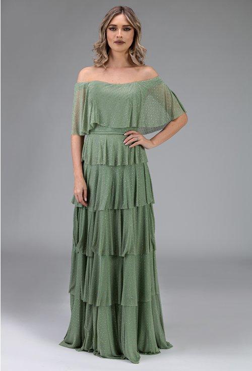 Rochie verde cu volane si umerii goi