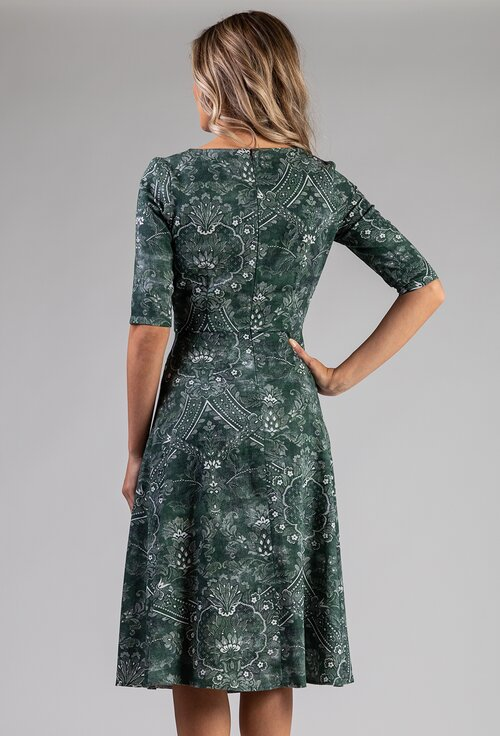 Rochie verde din bumbac cu fusta evazata