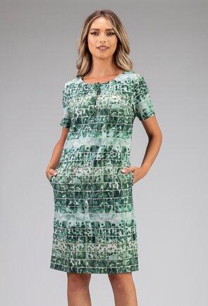 Rochie verde din bumbac organic cu buzunare