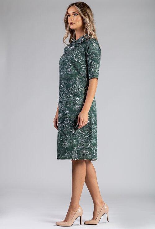 Rochie verde din bumbac organic cu imprimeu floral
