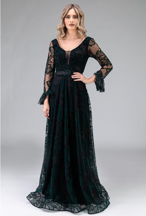 Rochie verde eleganta lunga cu maneci lungi si detalii florale